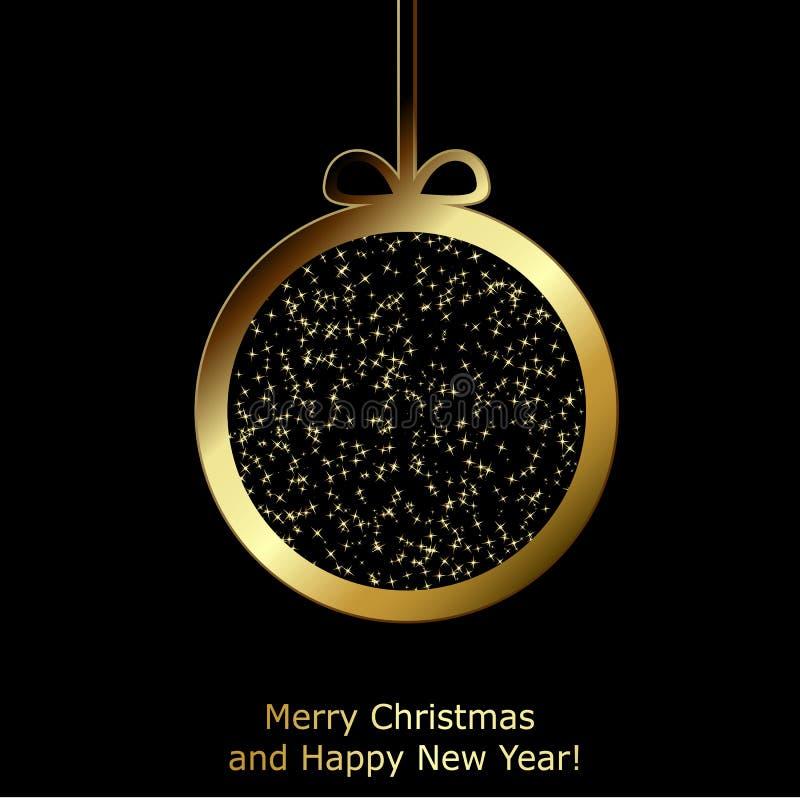 Σύγχρονη ευχετήρια κάρτα Χριστουγέννων με τη χρυσή σφαίρα Χριστουγέννων εγγράφου διανυσματική απεικόνιση