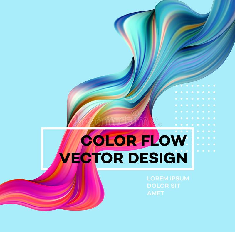Σύγχρονη ζωηρόχρωμη αφίσα ροής Υγρή μορφή κυμάτων στο μπλε υπόβαθρο χρώματος Σχέδιο τέχνης για το πρόγραμμα σχεδίου σας διάνυσμα απεικόνιση αποθεμάτων