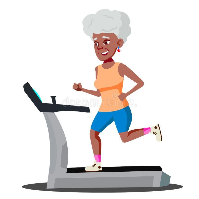 Σύγχρονη ηλικιωμένη γυναίκα που κάνει τις καρδιο ασκήσεις σε ένα Treadmill διάνυσμα απομονωμένη ωθώντας s κουμπιών γυναίκα έναρξη διανυσματική απεικόνιση