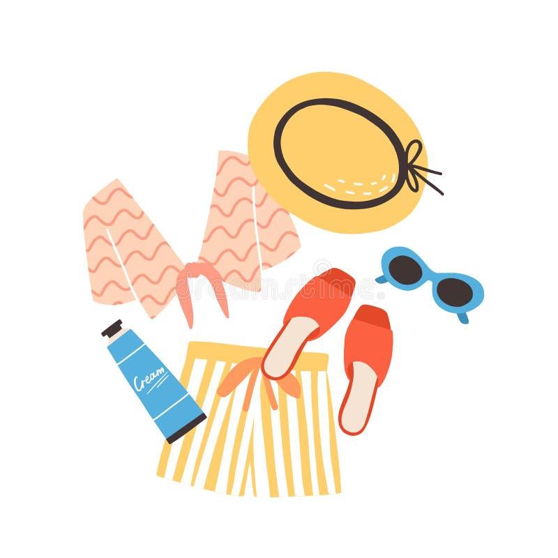 Σύγχρονη θερινή σύνθεση με beachwear, τα γυαλιά ηλίου και sunscreen Κομψές μοντέρνες εποχιακές ενδύματα και sunblock κρέμα διανυσματική απεικόνιση