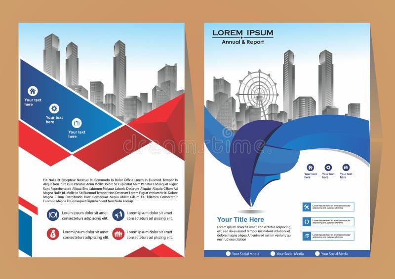 Σύγχρονη κάλυψη, φυλλάδιο, σχεδιάγραμμα για τη ετήσια έκθεση με το υπόβαθρο πόλεων ελεύθερη απεικόνιση δικαιώματος