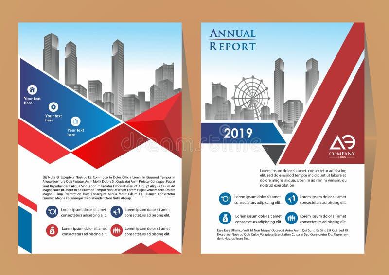 Σύγχρονη κάλυψη, φυλλάδιο, σχεδιάγραμμα για τη ετήσια έκθεση με το υπόβαθρο πόλεων διανυσματική απεικόνιση