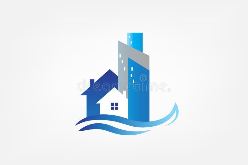 Σύγχρονη κάρτα ακίνητων περιουσιών οικοδομήσεων λογότυπων ελεύθερη απεικόνιση δικαιώματος