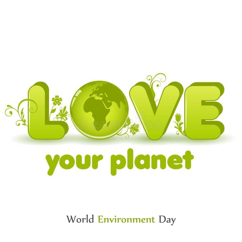 Σύγχρονη κάρτα με τη σφαίρα και συρμένη χέρι εγγραφή στο μινιμαλιστικό ύφος για την ημέρα παγκόσμιου περιβάλλοντος Αγαπήστε τον π στοκ εικόνες