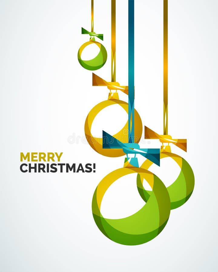 Σύγχρονη κάρτα Χαρούμενα Χριστούγεννας - αφηρημένα μπιχλιμπίδια ελεύθερη απεικόνιση δικαιώματος