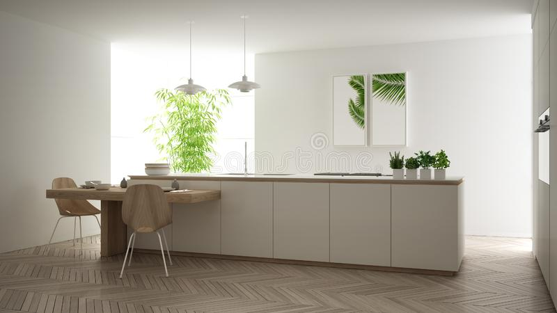 Σύγχρονη καθαρή σύγχρονη άσπρη κουζίνα, νησί και ξύλινος να δειπνήσει πίνακας με τις καρέκλες, το μπαμπού και τις σε δοχείο εγκατ απεικόνιση αποθεμάτων