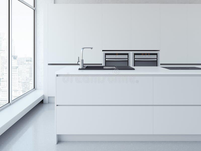 Σύγχρονη καθαρή άσπρη κουζίνα τρισδιάστατη απόδοση στοκ φωτογραφία