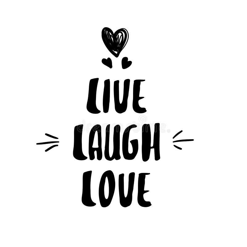 Σύγχρονη καλλιγραφία εγγραφής ζωντανή αγάπη γέλιου ελεύθερη απεικόνιση δικαιώματος