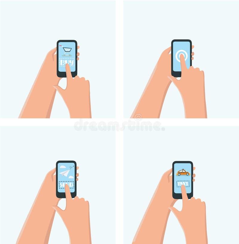 Σύγχρονη κινητή στιγμιαία αφίσα συνομιλίας αγγελιοφόρων με τα χέρια και smartphones τη διανυσματική απεικόνιση διανυσματική απεικόνιση