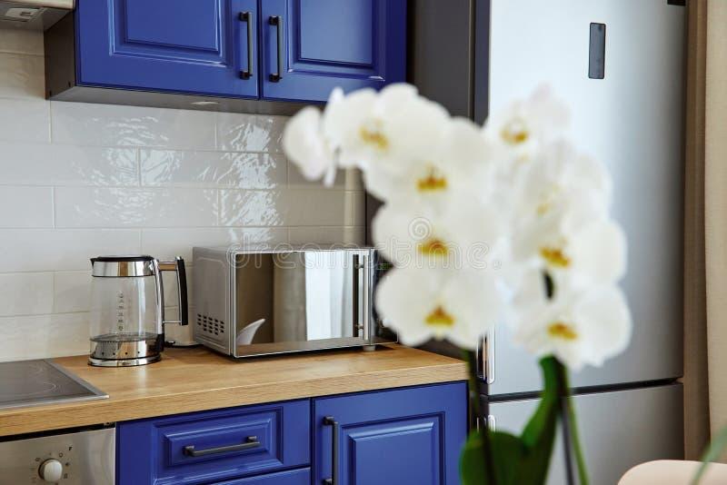 Σύγχρονη κουζίνα με τα λουλούδια Εγχώριο εσωτερικό ντεκόρ στοκ φωτογραφία