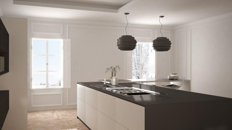 Σύγχρονη κουζίνα στο κλασικό εσωτερικό, νησί με τα σκαμνιά και το μεγάλο παράθυρο δύο, άσπρο και γκρίζο εσωτερικό αρχιτεκτονικής στοκ φωτογραφίες