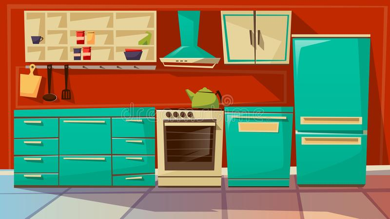 Σύγχρονη κουζινών εσωτερική απεικόνιση κινούμενων σχεδίων υποβάθρου διανυσματική των επίπλων και των συσκευών κουζινών ελεύθερη απεικόνιση δικαιώματος