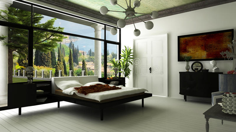Σύγχρονη κρεβατοκάμαρα βιλών στοκ εικόνα