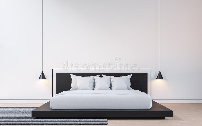 Σύγχρονη κρεβατοκάμαρα με τη γραπτή τρισδιάστατη δίνοντας εικόνα απεικόνιση αποθεμάτων