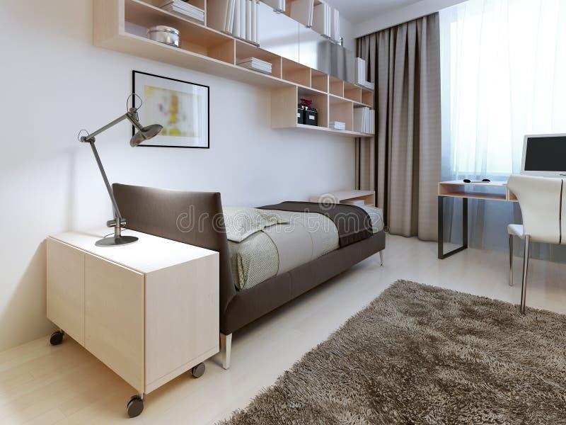 Σύγχρονη κρεβατοκάμαρα με τους άσπρους τοίχους στοκ φωτογραφίες