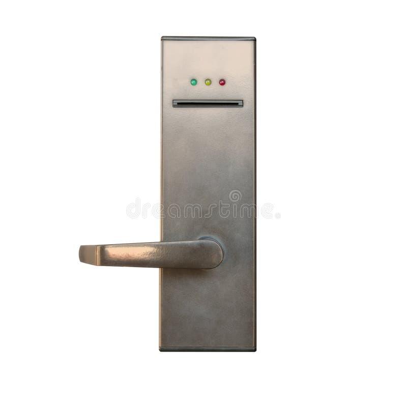 Σύγχρονη λαβή πορτών με την κλειδαριά συστημάτων ασφαλείας που απομονώνεται στο άσπρο β στοκ φωτογραφία με δικαίωμα ελεύθερης χρήσης