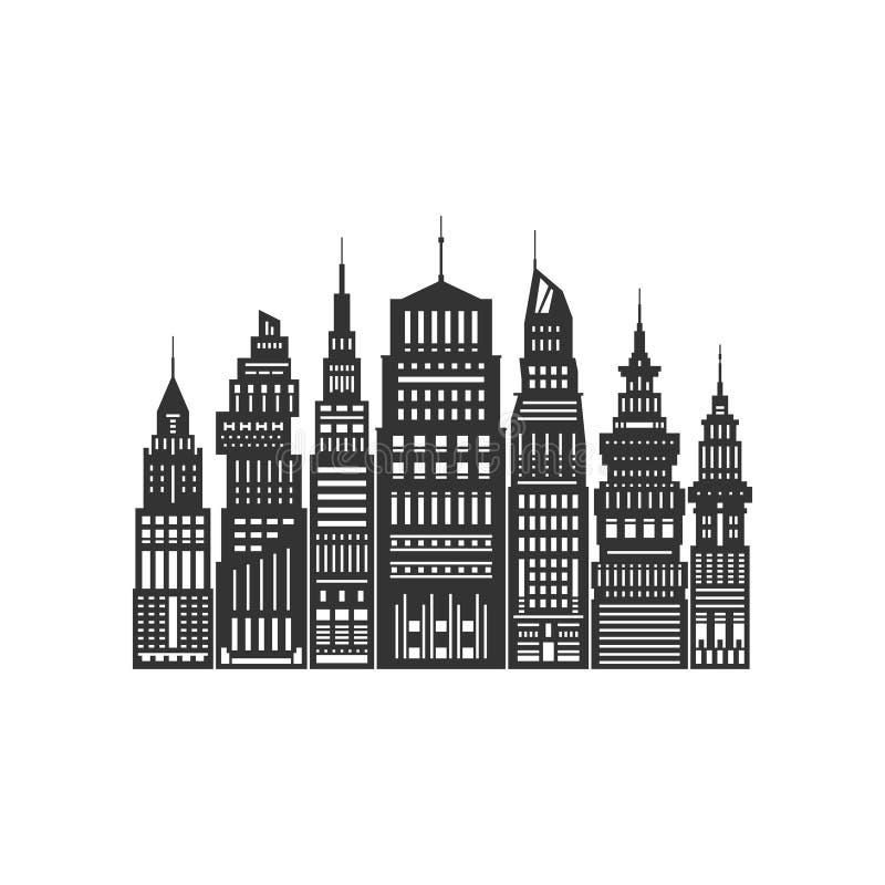 Σύγχρονη μεγάλη πόλη που απομονώνεται στο λευκό ελεύθερη απεικόνιση δικαιώματος