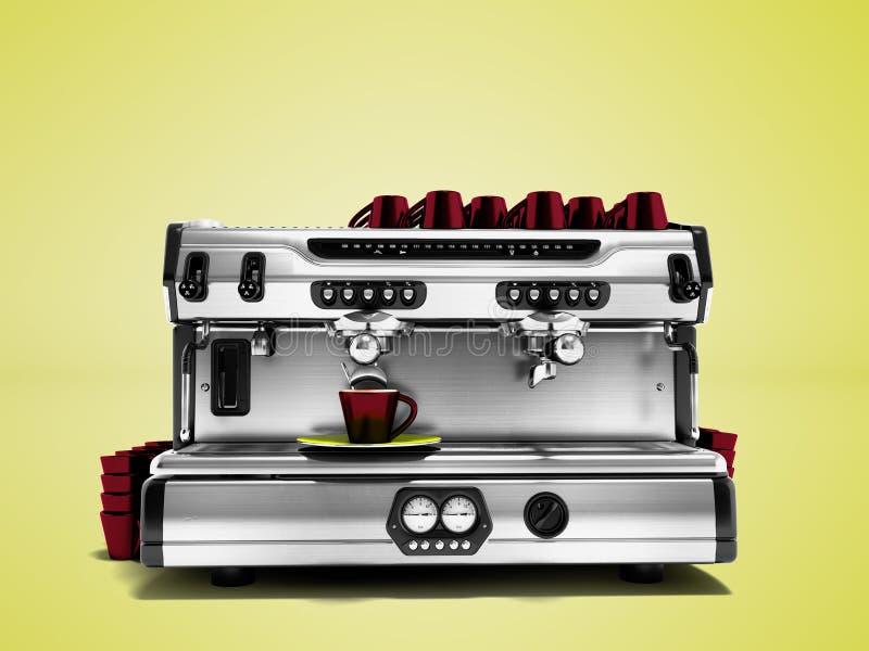 Σύγχρονη μηχανή καφέ με το σύνολο καφετιών φλυτζανιών για την κατασκευή του καφέ ι διανυσματική απεικόνιση