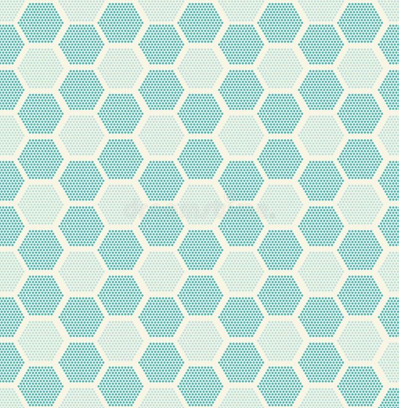 σύγχρονη μοντέρνη σύσταση Επανάληψη των γεωμετρικών κεραμιδιών με γεμισμένος με διαστιγμένα hexagons ελεύθερη απεικόνιση δικαιώματος