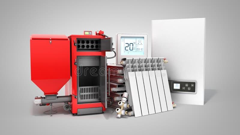Σύγχρονη μπαταρία λεβήτων στερεών καυσίμων αποταμίευσης θέρμανσης έννοιας ηλεκτρική απεικόνιση αποθεμάτων