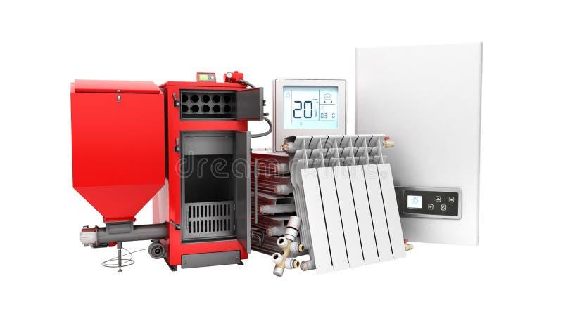 Σύγχρονη μπαταρία λεβήτων στερεών καυσίμων αποταμίευσης θέρμανσης έννοιας ηλεκτρική διανυσματική απεικόνιση
