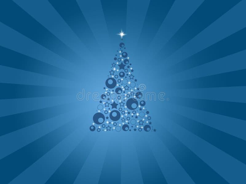 Σύγχρονη μπλε κάρτα Χριστουγέννων με το δέντρο διανυσματική απεικόνιση