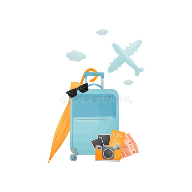 Σύγχρονη μπλε κλειστή βαλίτσα στις ρόδες E διανυσματική απεικόνιση