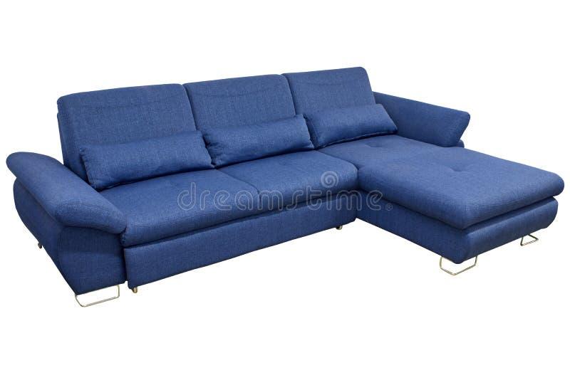 σύγχρονη μπλε μεγάλη άνετη γωνία καναπέδων υφάσματος με τα μαξιλάρια και διευθετήσιμα armrests σε ένα άσπρο υπόβαθρο στοκ φωτογραφία με δικαίωμα ελεύθερης χρήσης