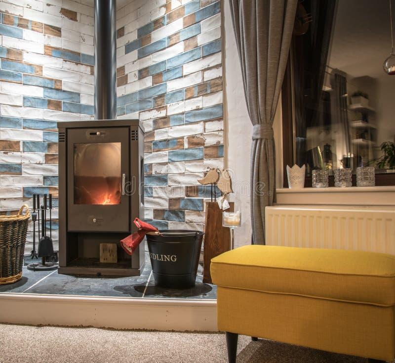 Σύγχρονη ξύλινη καίγοντας σόμπα στο σπίτι στοκ εικόνα με δικαίωμα ελεύθερης χρήσης