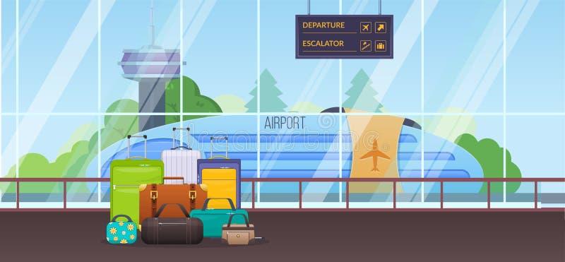 Σύγχρονη οικοδόμηση της αίθουσας αναμονής στον αερολιμένα εσωτερικό δωμάτιο ελεύθερη απεικόνιση δικαιώματος