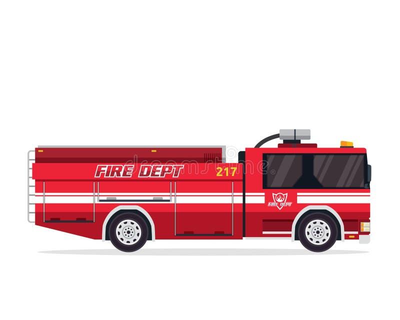 Σύγχρονη οριζόντια απομονωμένη απεικόνιση φορτηγών πυροσβεστών ελεύθερη απεικόνιση δικαιώματος