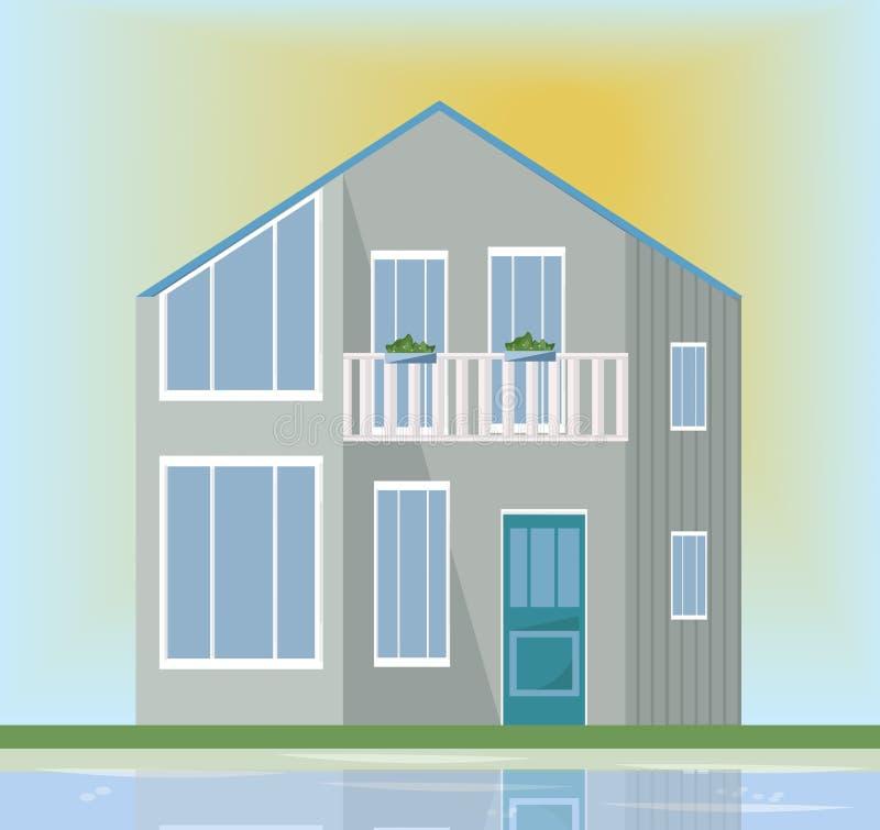 Σύγχρονη πρόσοψη αρχιτεκτονικής ενός γκρίζου σπιτιού Διανυσματικό υπόβαθρο ηλιοβασιλέματος απεικόνισης διανυσματική απεικόνιση