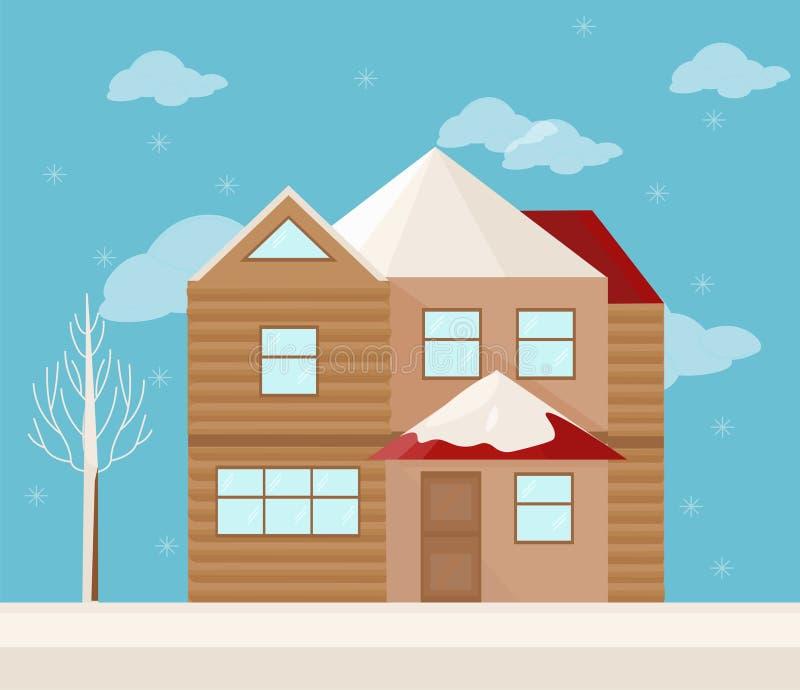 Σύγχρονη πρόσοψη αρχιτεκτονικής ενός σπιτιού Διανυσματική απεικόνιση χειμερινού υποβάθρου απεικόνιση αποθεμάτων