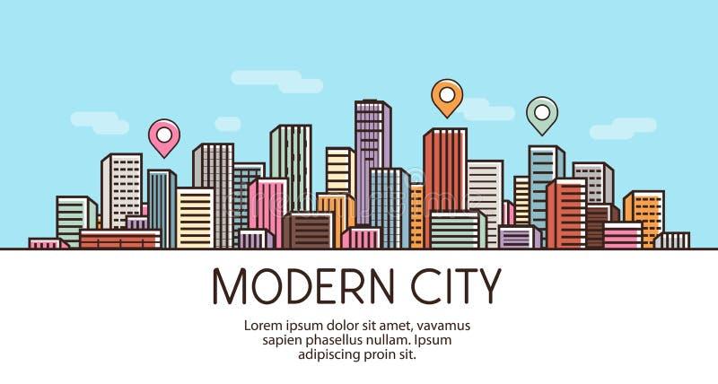 Σύγχρονη πόλη, έμβλημα Εικονική παράσταση πόλης, αστικό τοπίο, πόλης έννοια επίσης corel σύρετε το διάνυσμα απεικόνισης διανυσματική απεικόνιση