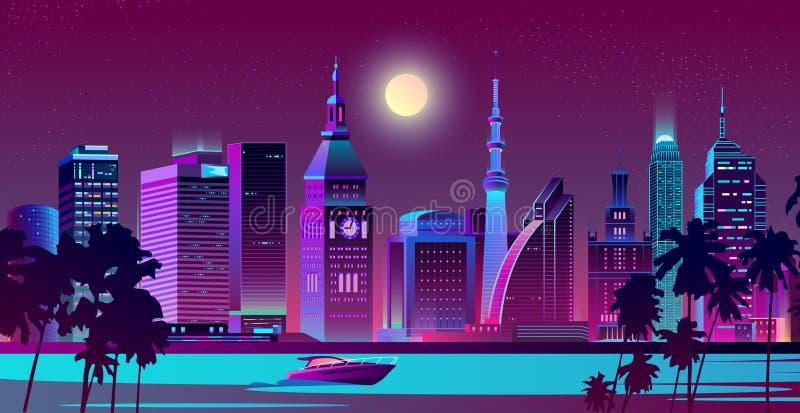 Σύγχρονη πόλη στο διάνυσμα τοπίων νύχτας ακτών διανυσματική απεικόνιση