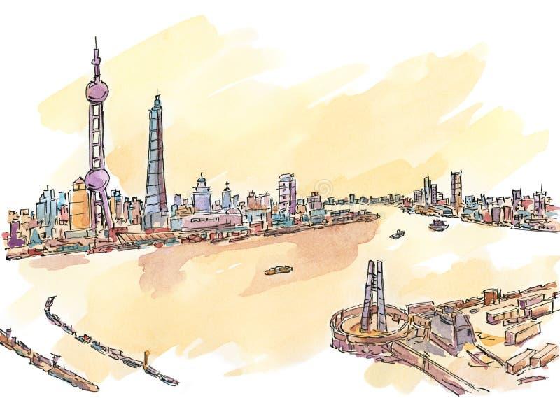 Σύγχρονη πόλη γύρω από τον ποταμό διανυσματική απεικόνιση