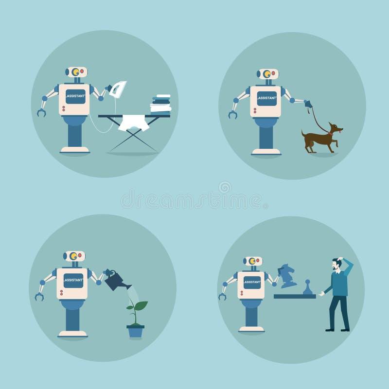 Σύγχρονη ρομπότ τεχνολογία οικοκυρικής μηχανισμών τεχνητής νοημοσύνης εικονιδίων καθορισμένη φουτουριστική απεικόνιση αποθεμάτων