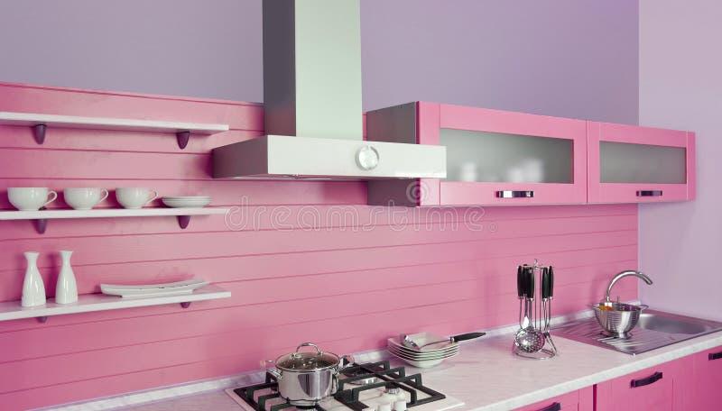 Σύγχρονη ρόδινη κουζίνα στοκ εικόνα