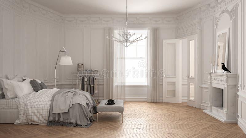 Σύγχρονη Σκανδιναβική κρεβατοκάμαρα στο κλασικό εκλεκτής ποιότητας καθιστικό με στοκ εικόνες