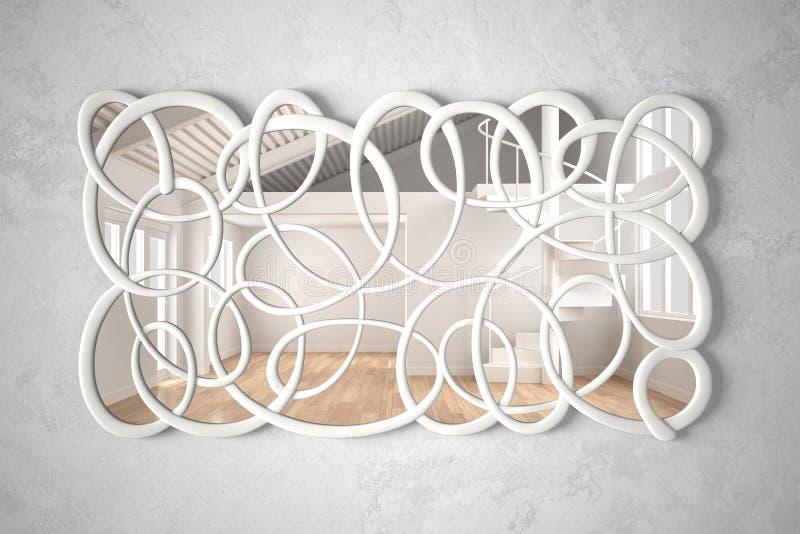 Σύγχρονη στριμμένη ένωση καθρεφτών μορφής στον τοίχο που απεικονίζει την εσωτερική σκηνή σχεδίου, το φωτεινό άσπρο και ξύλινο κεν στοκ εικόνα με δικαίωμα ελεύθερης χρήσης