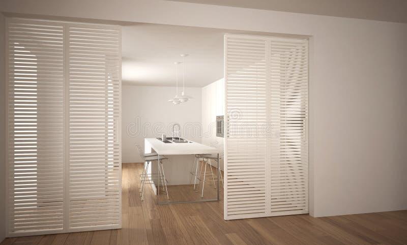 Σύγχρονη συρόμενη πόρτα με την κουζίνα στο υπόβαθρο, άσπρο ελάχιστο εσωτερικό αρχιτεκτονικής ελεύθερη απεικόνιση δικαιώματος
