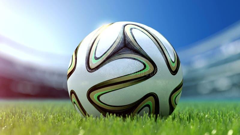 Σύγχρονη σφαίρα ποδοσφαίρου στη χλόη τρισδιάστατη απόδοση στοκ φωτογραφίες