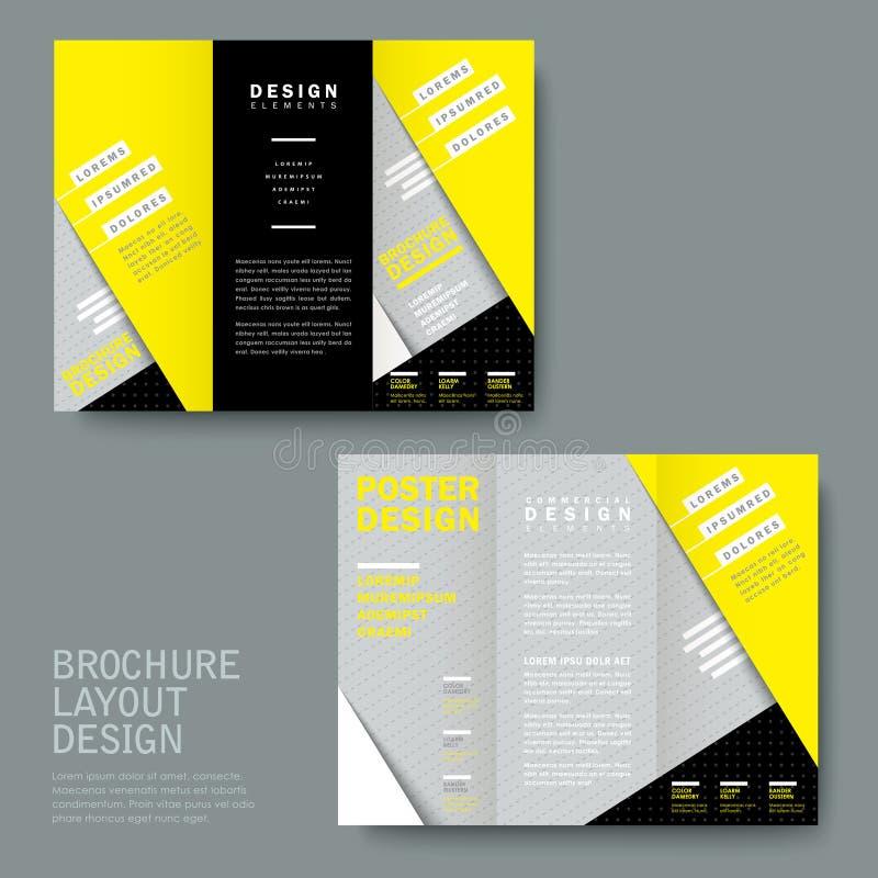 Σύγχρονη σύσταση εγγράφου trifold κίτρινος και γκρίζος ελεύθερη απεικόνιση δικαιώματος