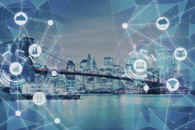 Σύγχρονη σύσταση πόλεων τεχνολογίας στοκ εικόνες