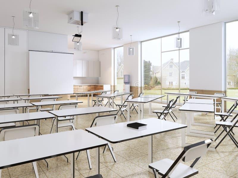 Σύγχρονη τάξη με τα μεγάλα πανοραμικά παράθυρα και τα άσπρα γραφεία, φωτεινό εσωτερικό ελεύθερη απεικόνιση δικαιώματος