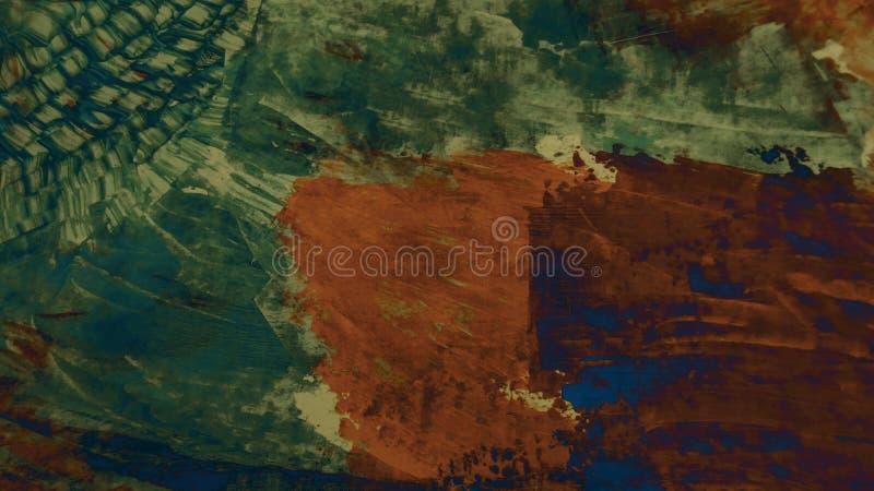 Σύγχρονη τέχνη Ξηρό μελάνι στην επιφάνεια Ακρυλικά κτυπήματα ζωγραφικής στον καμβά τέχνη μοντέρνα Παχύς καμβάς χρωμάτων Τεμάχιο τ απεικόνιση αποθεμάτων