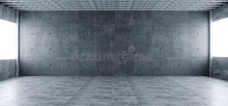 Σύγχρονη τεράστια συγκεκριμένη υλική κενή αίθουσα με πολλές στήλες και το Β απεικόνιση αποθεμάτων