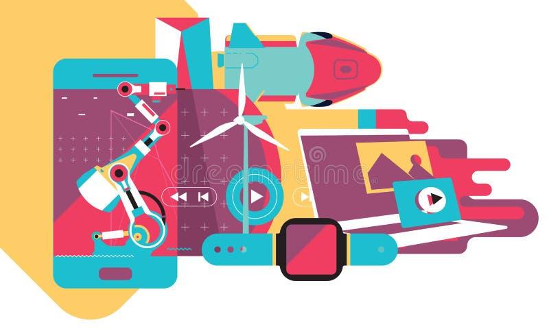 Σύγχρονη τεχνολογία, κόσμος της τεχνολογίας, το μέλλον τώρα, ηλεκτρονική, ρομποτική, ενέργεια διανυσματική απεικόνιση