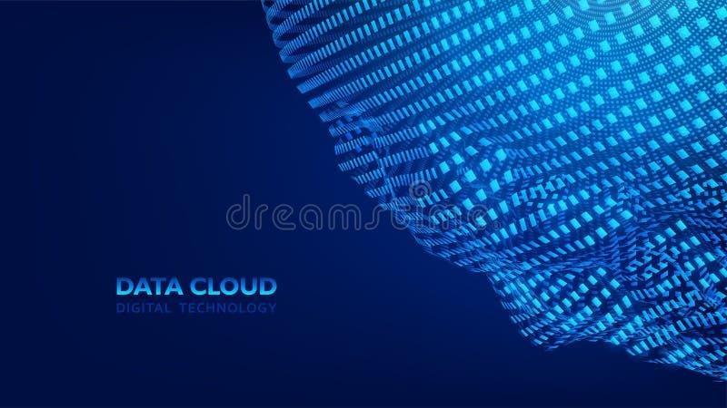 Σύγχρονη τεχνολογία σύννεφων Σύννεφο στοιχείων E Ενσωματωμένο ψηφιακό υπόβαθρο έννοιας Ιστού, διάνυσμα EPS10 ελεύθερη απεικόνιση δικαιώματος