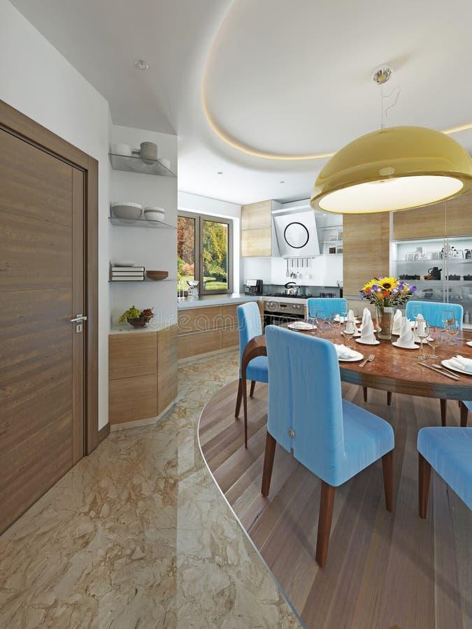 Σύγχρονη τραπεζαρία κουζινών στο ύφος του κιτς στοκ φωτογραφία